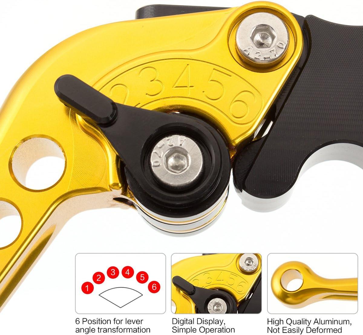 Motorrad-CNC-Kurzbremskupplungshebel 6 Positionen einstellbar f/ür Yamaha Warrior YFM 350 YFM350 2002-2004 Raptor YFM660 2001-2004 Gold mit Schwarz XT660 XT660R XT660X 2004-2013
