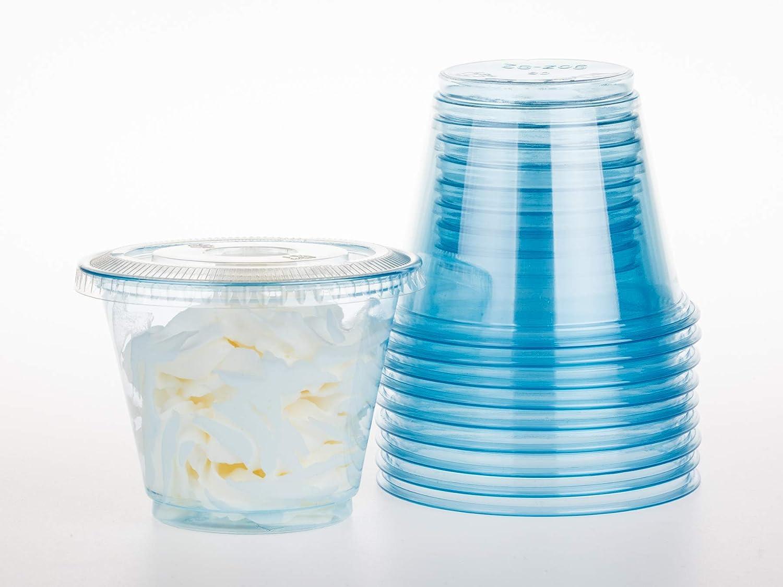 GOLDEN APPLE, 9oz-30sets Blue Plastic Cups with Clear Flat no Hole lids