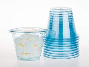 GOLDEN APPLE, 9oz-30sets Blue Plastic Cups with Clear Flat no Hole lids