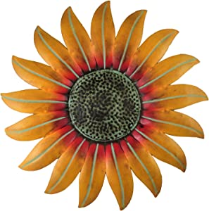 Mayrich Hanging Yellow Metal Sunflower Décor, Bathroom Kitchen Room Wall Art, Outdoor Patio Deck Garden Decoration, Home Flower Accessories Plaque