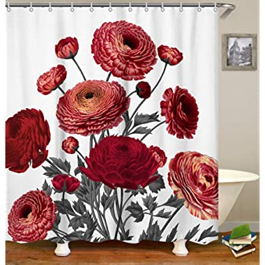 LIVILAN Vintage Red Floral Fabric Shower Curtain Set with 12 Hooks Decorative Waterproof Fabric Bathroom Curtain 72  x 72