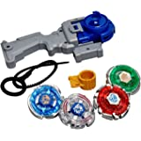 Shanaya Toys 4 in 1 Beyblades Metal Fighter Fury with Metal Fight Ring and Handle Launcher - Multi Color
