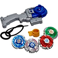 Shanaya Toys 4 in 1 Beyblades Metal Fighter Fury with Metal Fight Ring and Handle Launcher - Multi Color (Pack of 10)