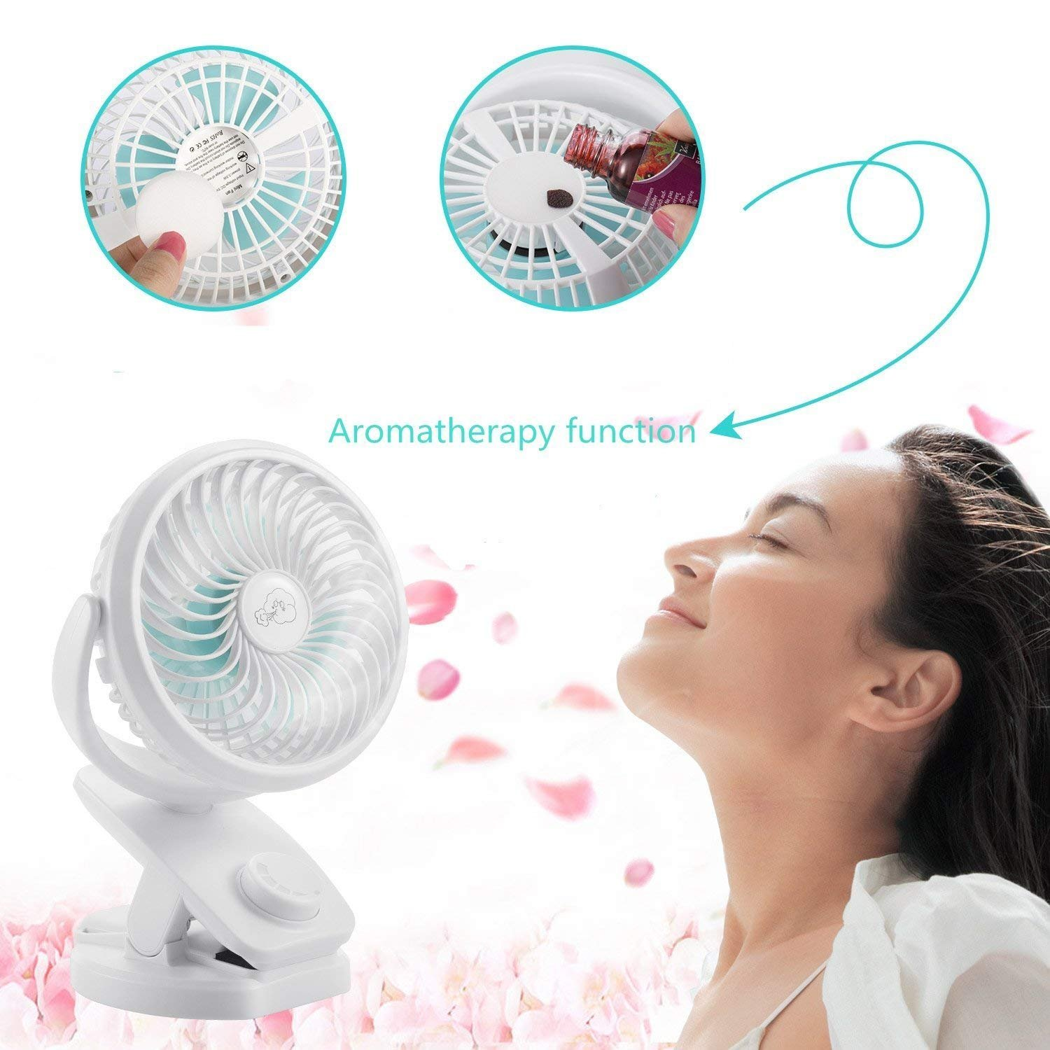 Office,Outdoor Travel Ideal for Stroller USB Desk Fan with Rechargeable 4400 mAh Battery,Mini Clip on Fan with Powerbank /&Aroma Diffuser Function,Stepless Speeds Camping COMLIFE Portable Fan F150