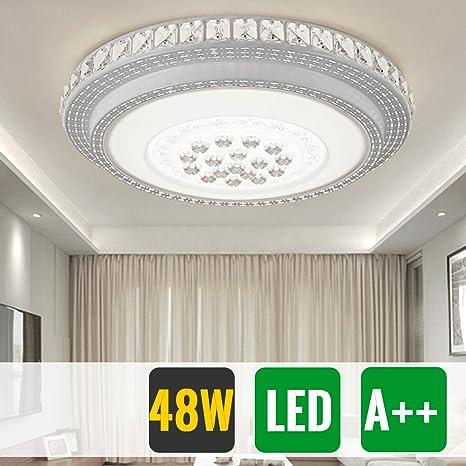 HG® Diseño Notable LED Lámpara de techo redondo cristal deckenleuchte Salón Star Light de efecto (Ronda 48W Blanco Frío)