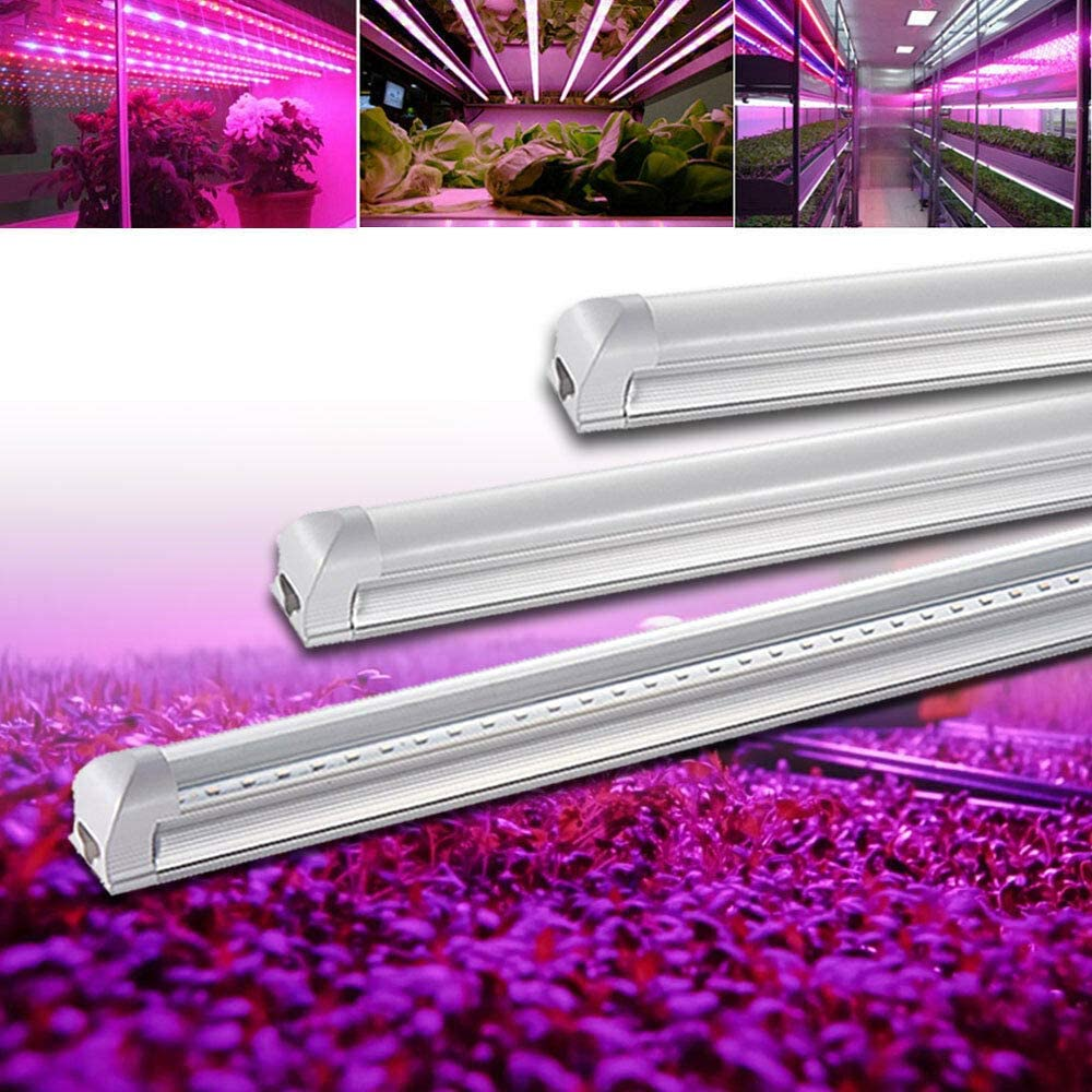 Led Plant Grow Light, 2 Pack, 15W, 3ft T8 Tube Light Grower, 110V, Full Spectrum Grow Lamp for Indoor Growing Hydroponics Greenhouse Plant, Grow Shelf, Easy Installation