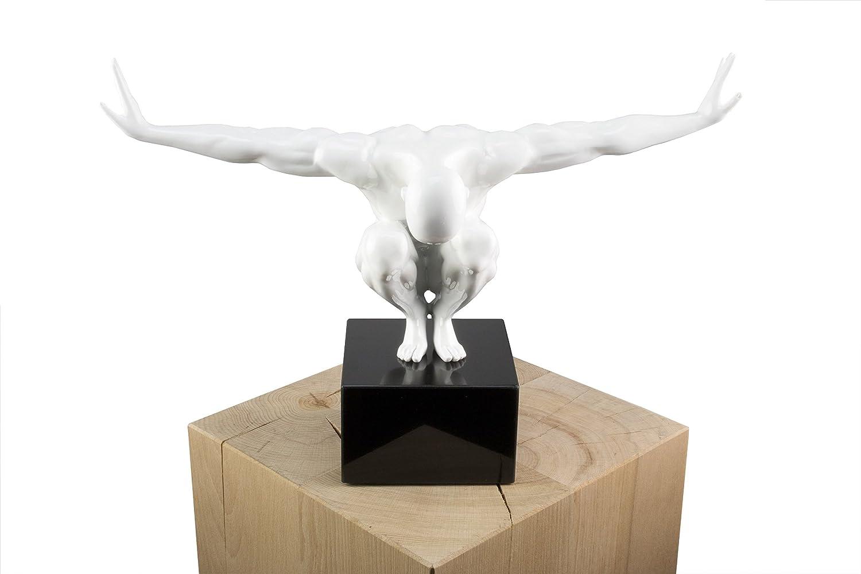 KunstLoft® Skulptur 'Jeden Moment' in 30x30x13cm | Moderne Kunststein-Figur | Weißer Männlicher Akt Turner Akrobat Mensch | Statue als Unikat - Handgefertigtes Kunstwerk | Schöne Wohnzimmer-Dekoration