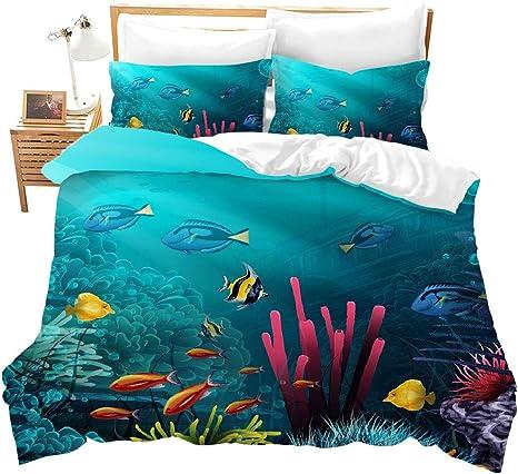 Fish Quilted Coverlet /& Pillow Shams Set Cartoon Sea Life Theme Print