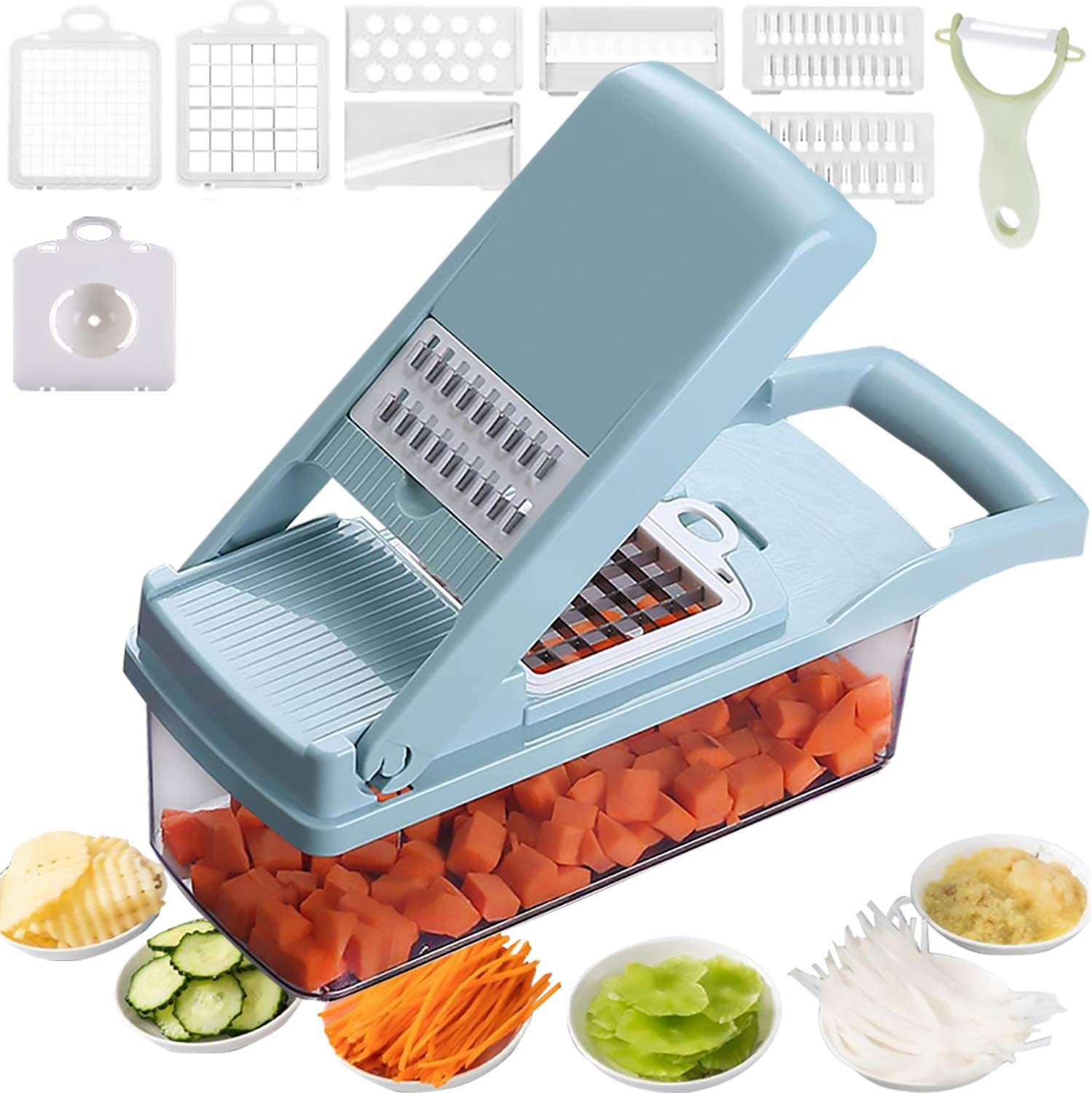 Mandoline Slicer Salad Chopper Spiralizer Vegetable Slicer 12 in 1 Food Choppers And Dicers Cheese Slicer 7 Blades