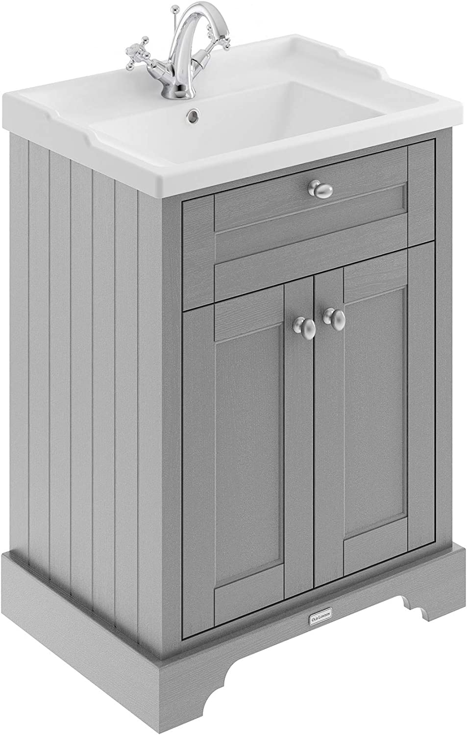 Timeless Sand Old London Hudson Reed LOF409 ǀ Traditional Cloakroom Bathroom Floor Standing Corner Vanity Basin Unit with 1 Tap Hole Ceramic Sink 595mm x 850mm 595mm x 850mm x 450mm