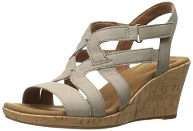 9a27d7d60b0 Rockport Women s Briah Caged Wedge Sandal New Taupe Nubuck 6.5 ...