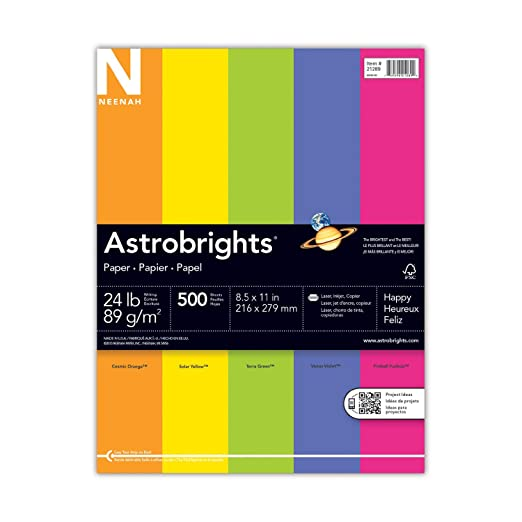 "Neenah Astrobrights Premium Color Paper Assortment, 24 lb, 8.5 x 11"", 500 Sheets, Happy (21289)"
