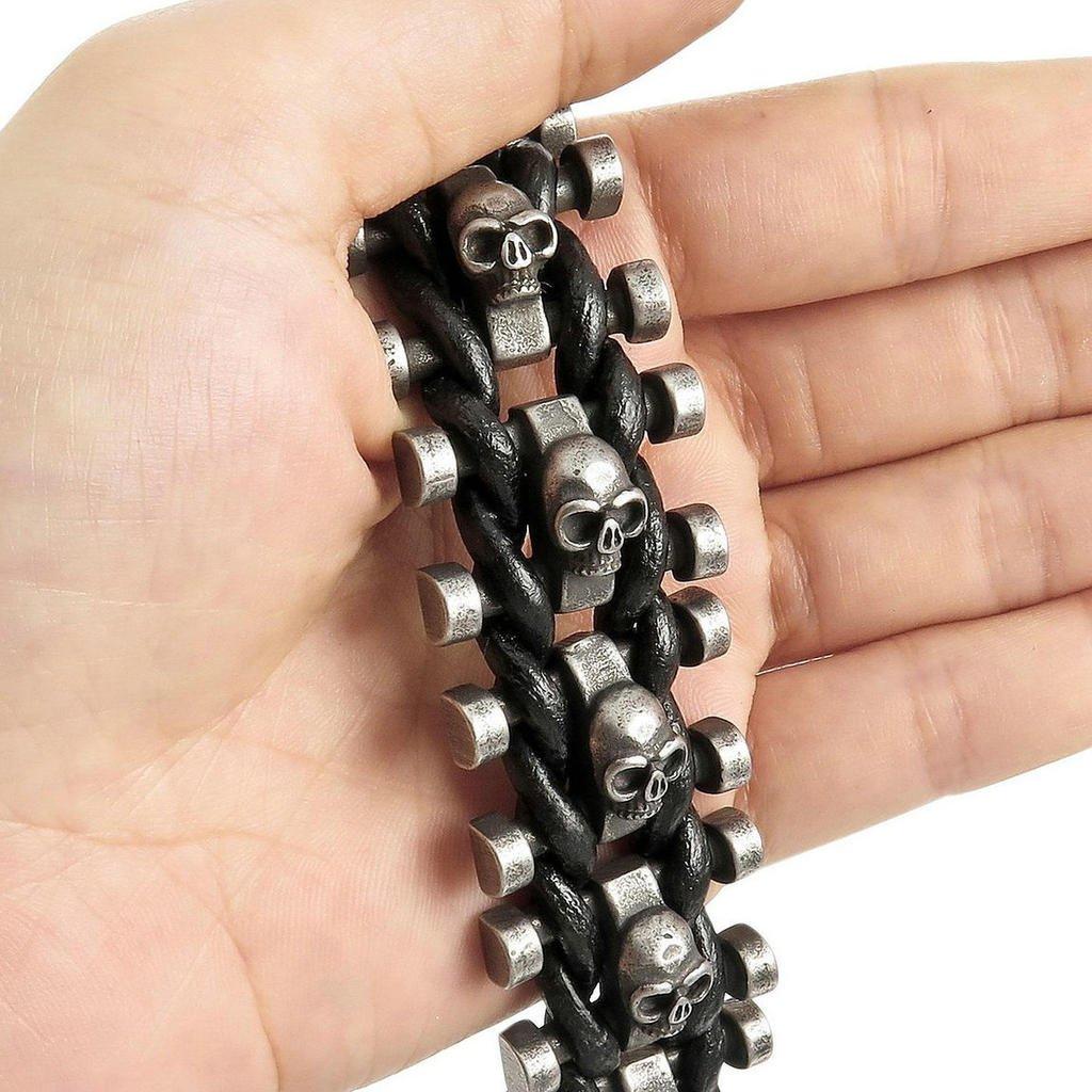 Epinki Mens Stainless Steel Genuine Leather Bracelet Bangle Black Skull Braided Adjustable Biker