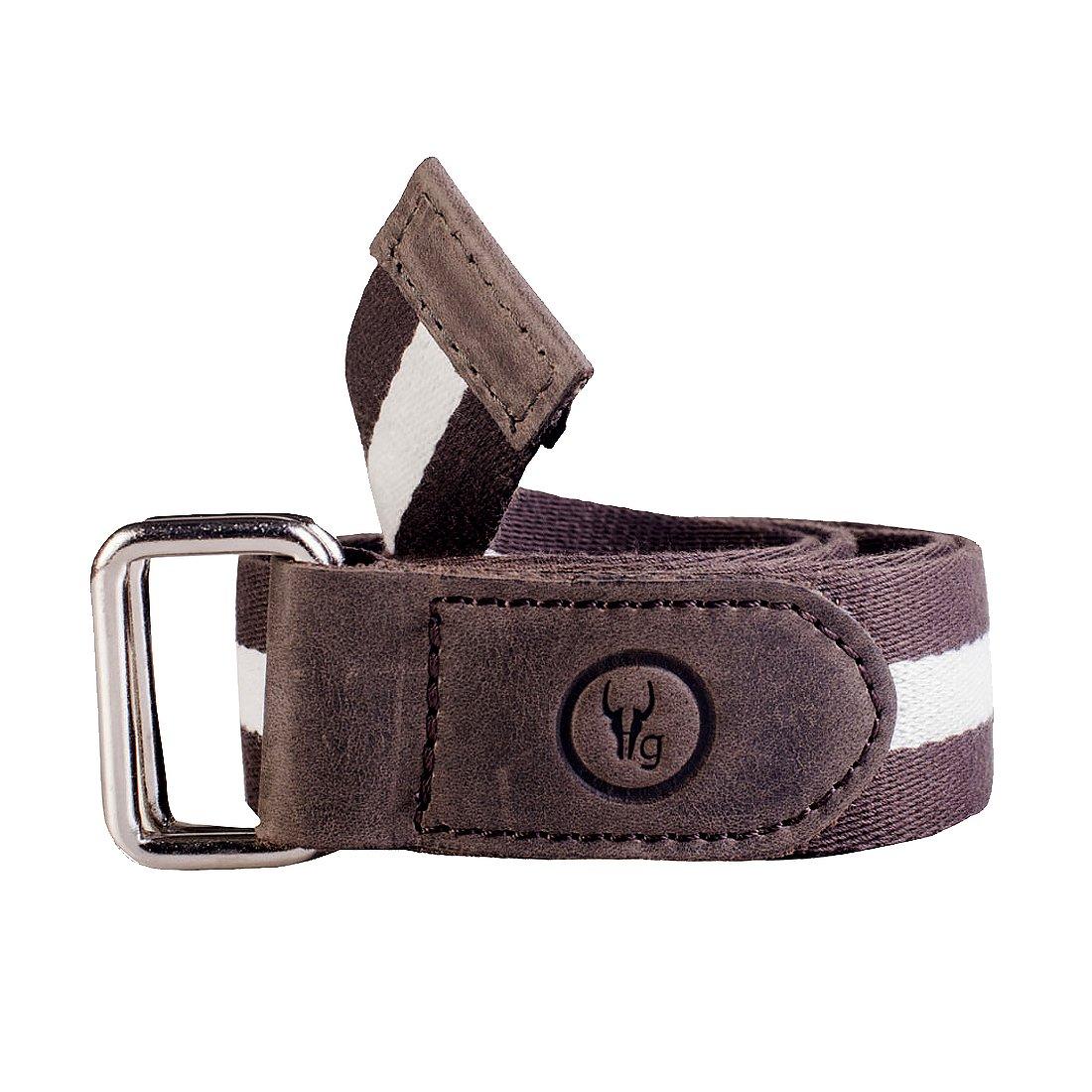 0134e8f096ca Hidegear Men s Canvas Leather Belt (Dark Brown)