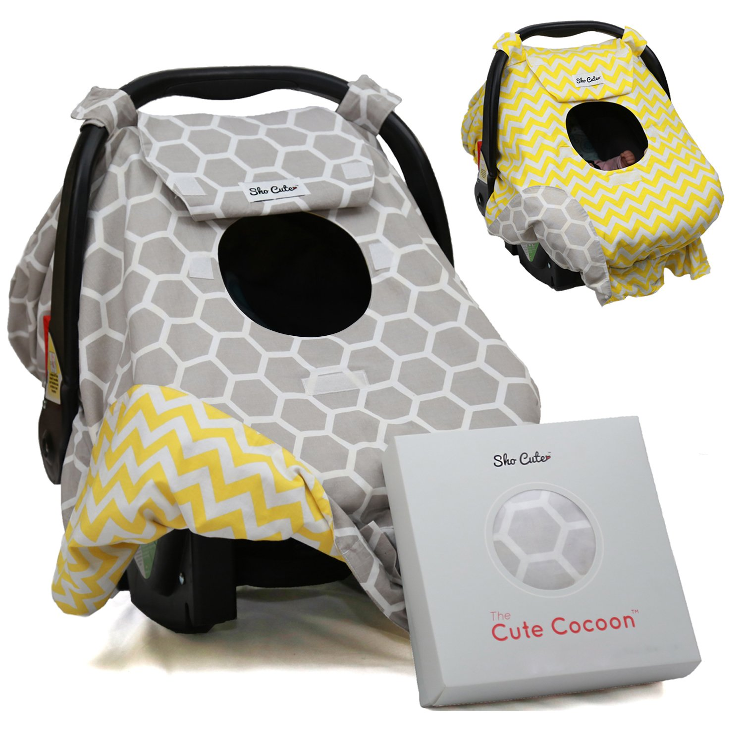Sho Cute - [Reversible] Carseat Canopy | All Season Baby Car Seat Cover Boy or Girl | 100% Cotton | Unisex Grey Honeycomb & Yellow Chevron | Nursing Cover | Universal Fit | Baby Gift -Patent Pending Sho Cute Inc.