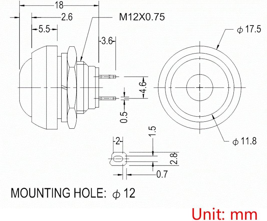 2PCS White 12mm Waterproof momentary Push button Switch Mini Round Switch