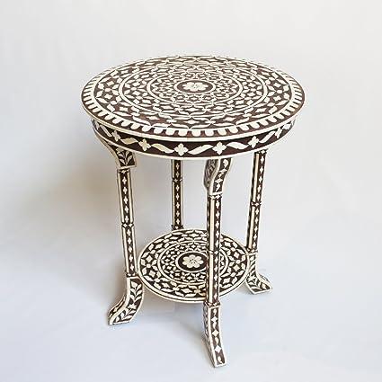 super popular a4851 7b04d Amazon.com: Bone Inlay Round Side Table - brown: Kitchen ...
