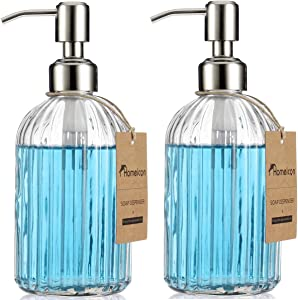 Decor Homeicon Soap Dispenser - 2 Pack, Kitchen Dish Soap Dispenser, Bathroom Liquid Soap Dispenser, with Rustproof Stainless Steel Pump, 16 Oz/with Silicone Funnel