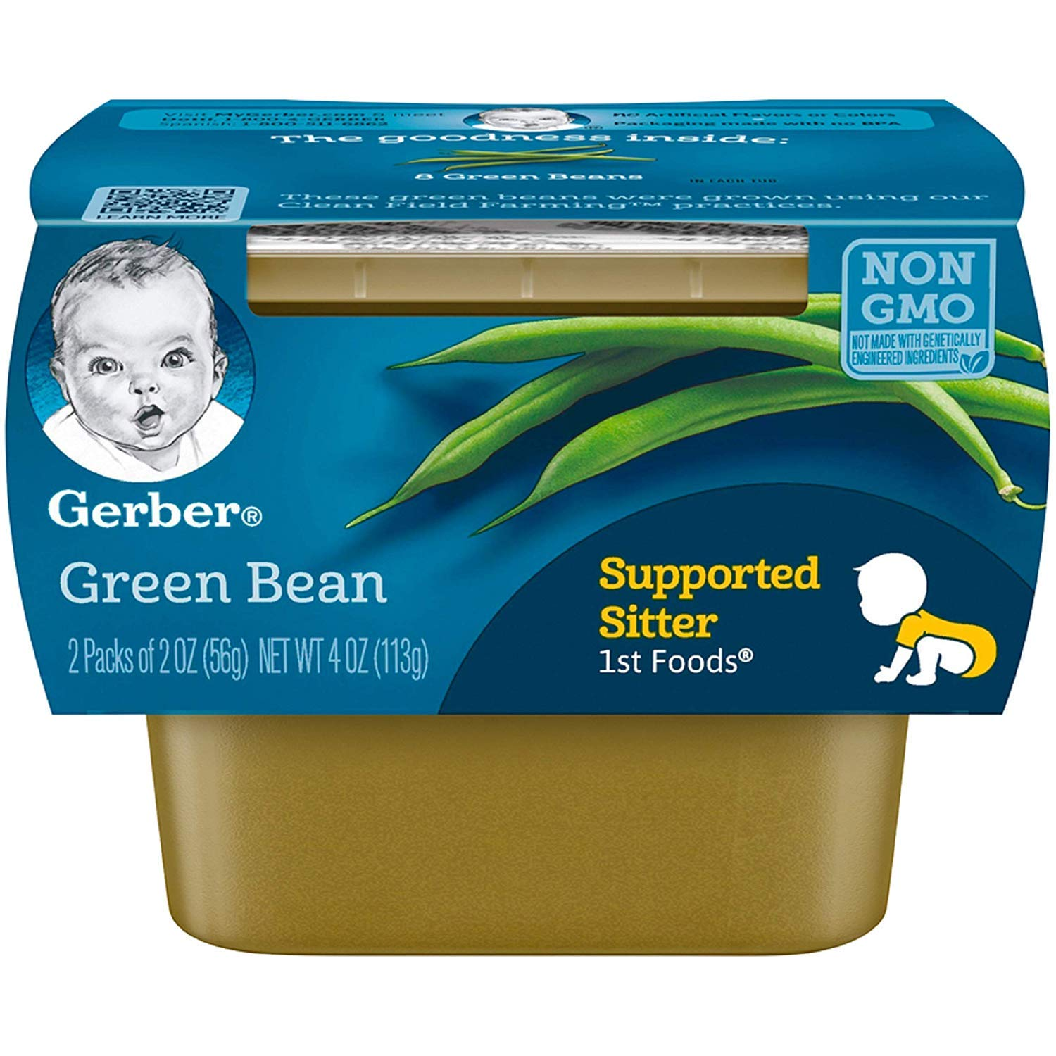 Gerber 1st Foods Green Beans, 2.5 Ounce Tubs, 2 Count (Pack of 8)