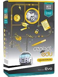 Ozobot Evo Educator Entry Kit - BLE Coding Robot & Teacher Training in 2 Ways to Code - STEM & STEAM for Grades K–12 (White)