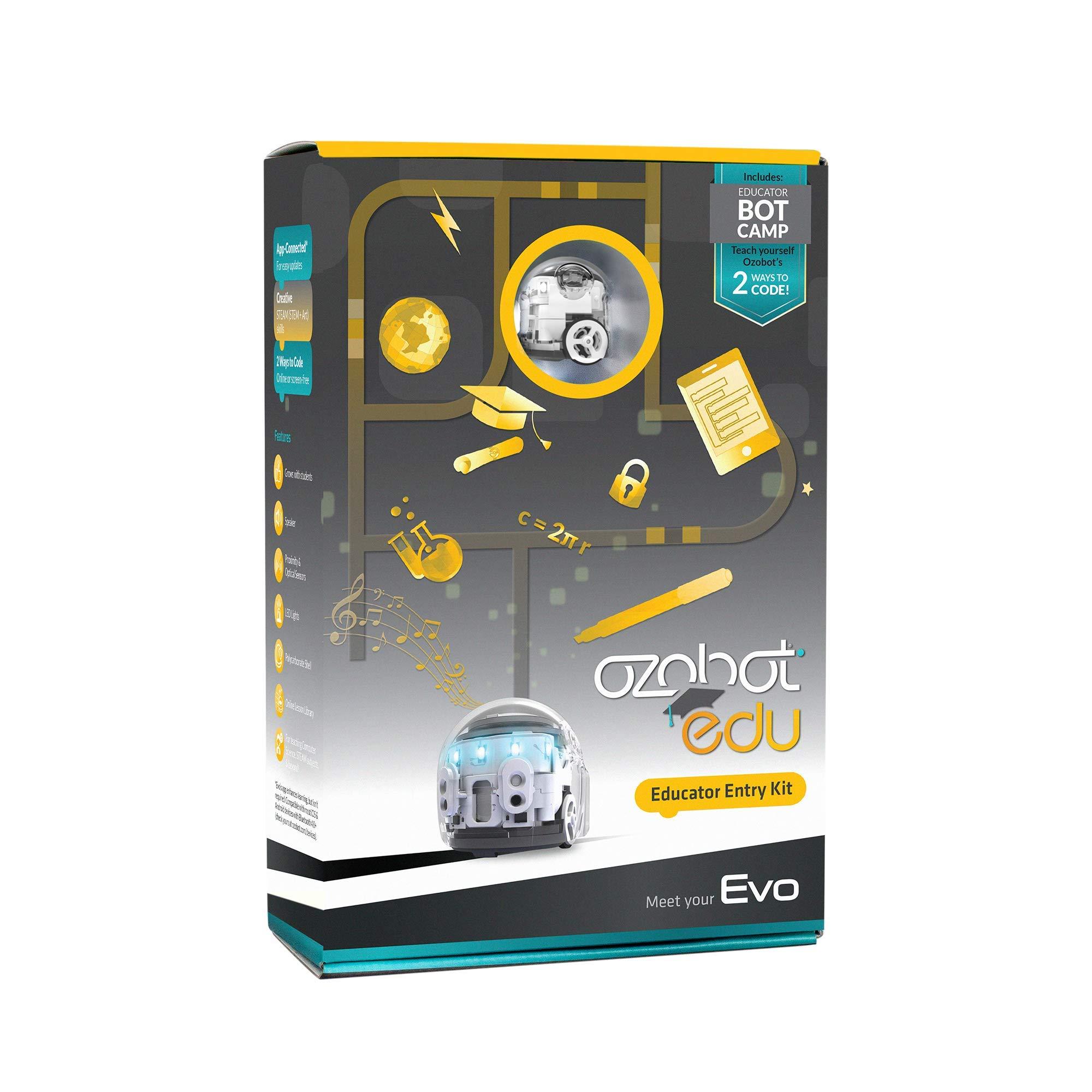 Ozobot Evo Educator Entry Kit - BLE Coding Robot & Teacher Training in 2 Ways to Code - STEM & STEAM for Grades K-12 (White) by Ozobot
