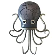 Fancy That Octopus Gray and Silver Double Hooks Wall Decor Metal