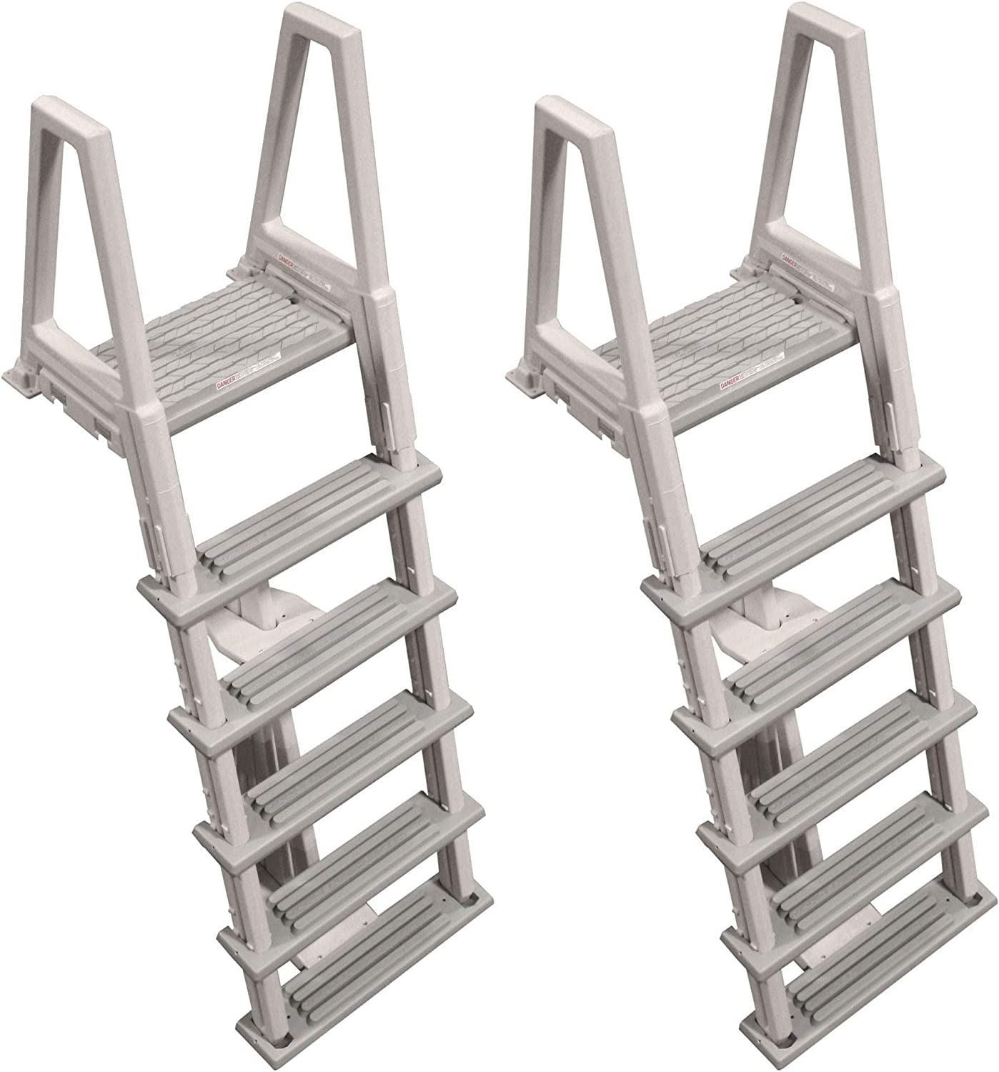 Confer Heavy-Duty Above-Ground Swimming Pool Ladder 46-56 Inches, Gray (2 Pack)
