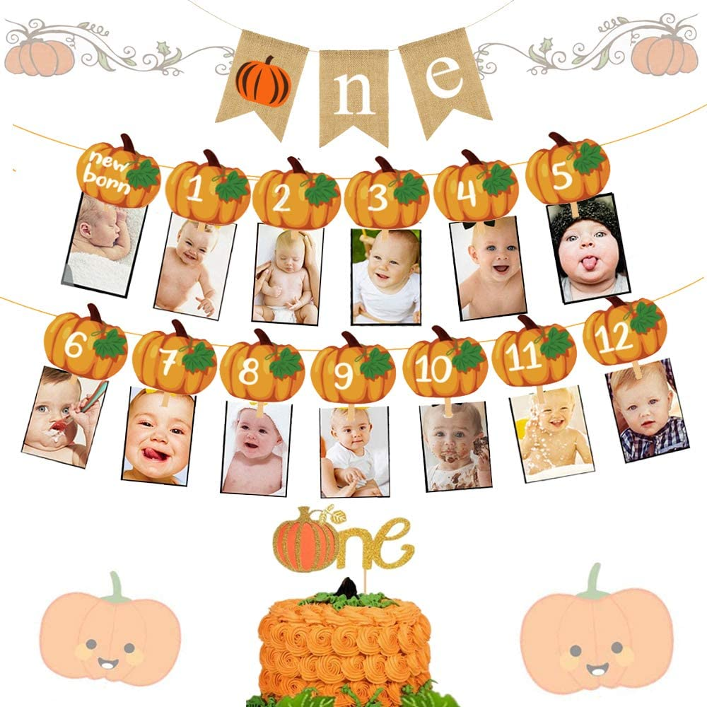 LaVenty 3 PCS Pumpkin 1st Birthday decoration Pumpkin First Birthday Banner Pumpkin Birthday Decorations Pumpkin Baby Shower Fall 1st Birthday Party Decor Little Pumpkin One Banner