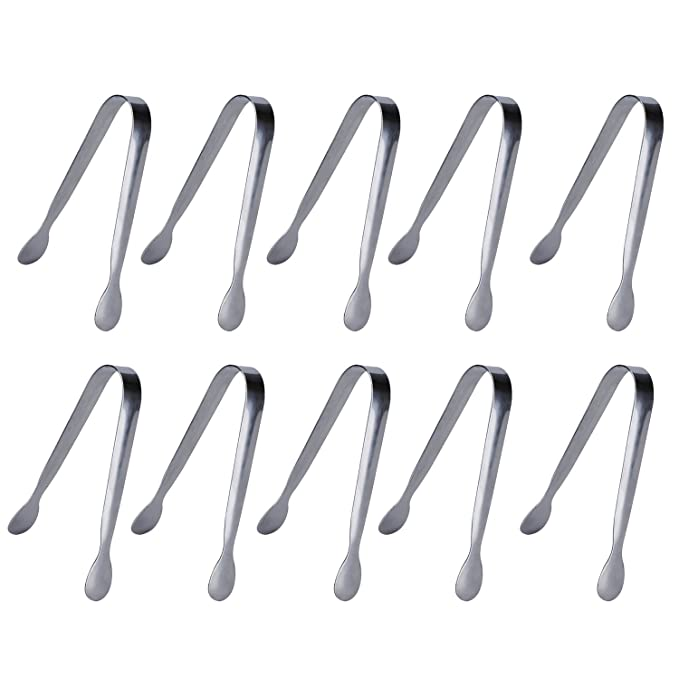 10 Pack Sugar Tongs Ice Tongs Stainless Steel Mini Serving Tongs Appetizers Tongs Small Kitchen Tongs for Tea Party Coffee Bar Kitchen