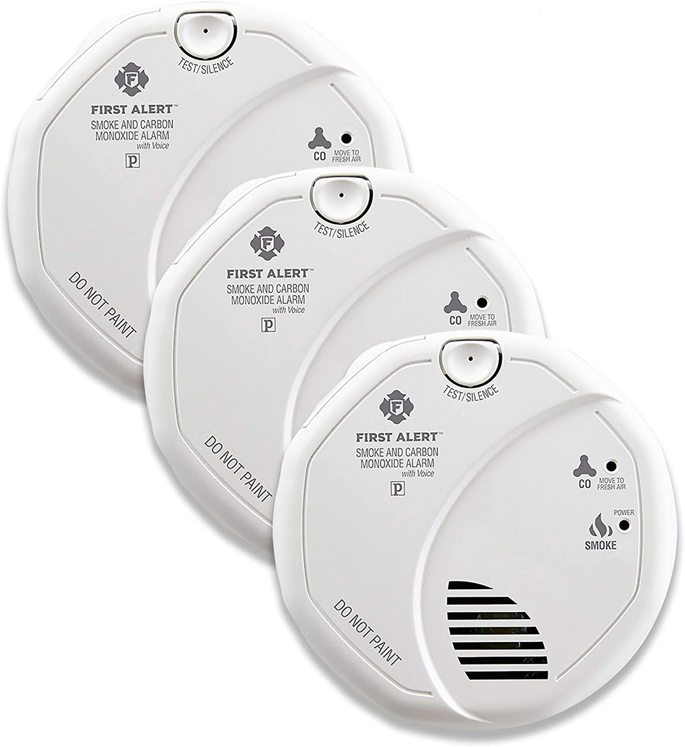 First AlertBRK SC7010BV-3 Hardwired Smoke and Carbon Monoxide (CO) Detector with Talking Photoelectric Sensor, 3-Pack