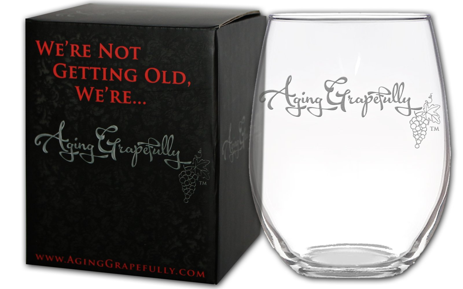 Aging Grapefully 21oz Etched Stemless Wine Glass (Aging Grapefully - Logo Only)