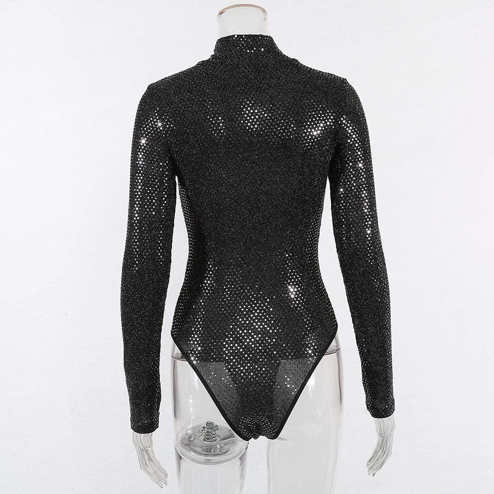 NBBNYJ Body Donna Elegante Intimo V-Collo Paillettes Manica Lunga Bodysuit Maglia Blusa Camicie Leotard Jumpsuits Top Tuta