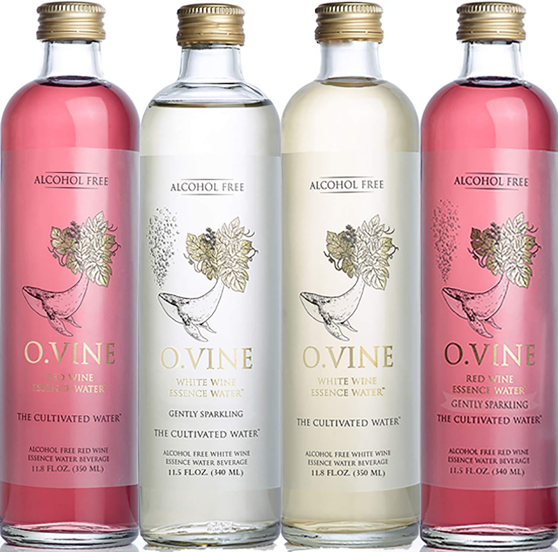 O Vine - Wine Grape Infused Essence Water - Variety Pack (3 Red Still, 2 Red Sparkling, 2, White Still, 2 White Sparkling) - 11.8 oz (9 Glass Bottles) by O Vine