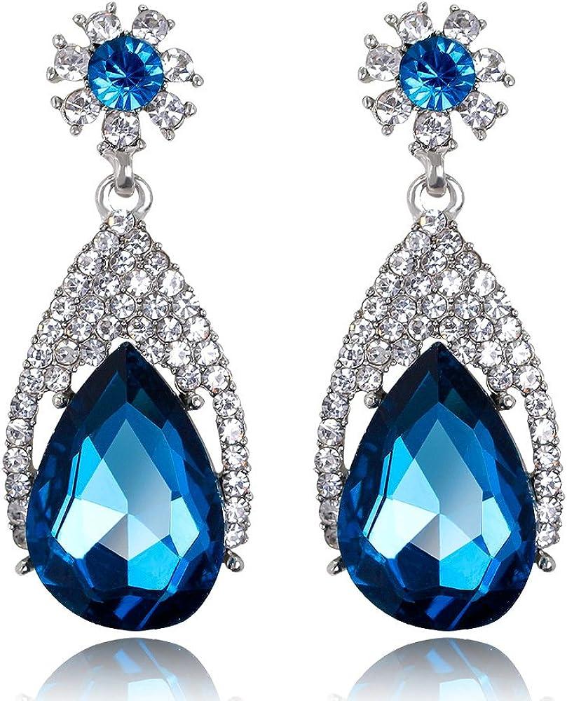 MDGWM Pendientes de Cristal exquisitos, lujosas Joyas versátiles para la Noche, Diamantes de aleación para un Azul más glamoroso