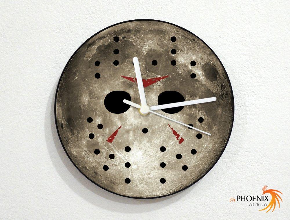 Jason X - Friday 13 - Horror - Grey Full Moon - Universe Stars Space Galaxy Solar Planet - Custom Name Wall Clock