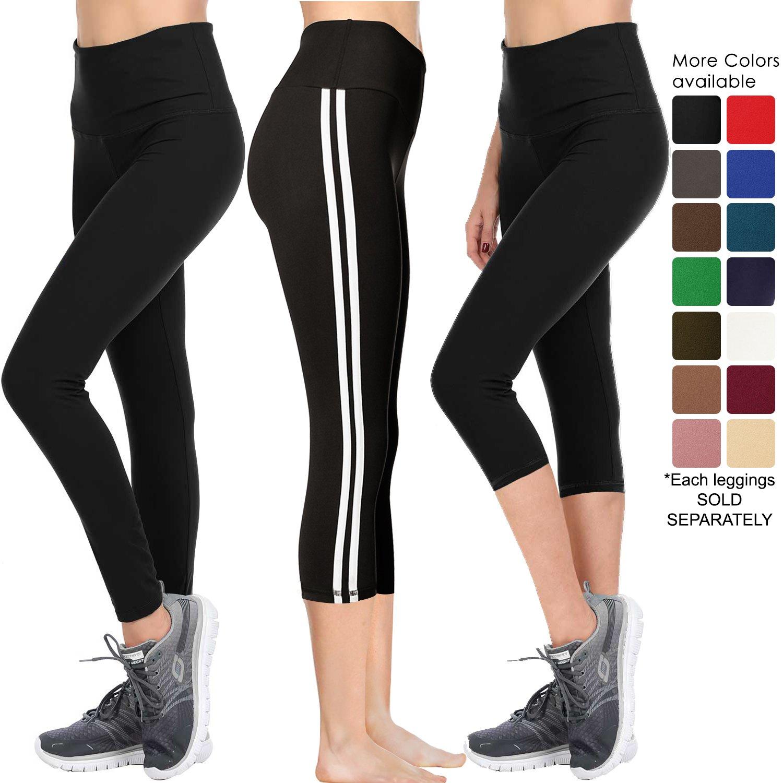 VIV Collection Signature Leggings Yoga Waistband Soft w Hidden Pocket (M, Black)