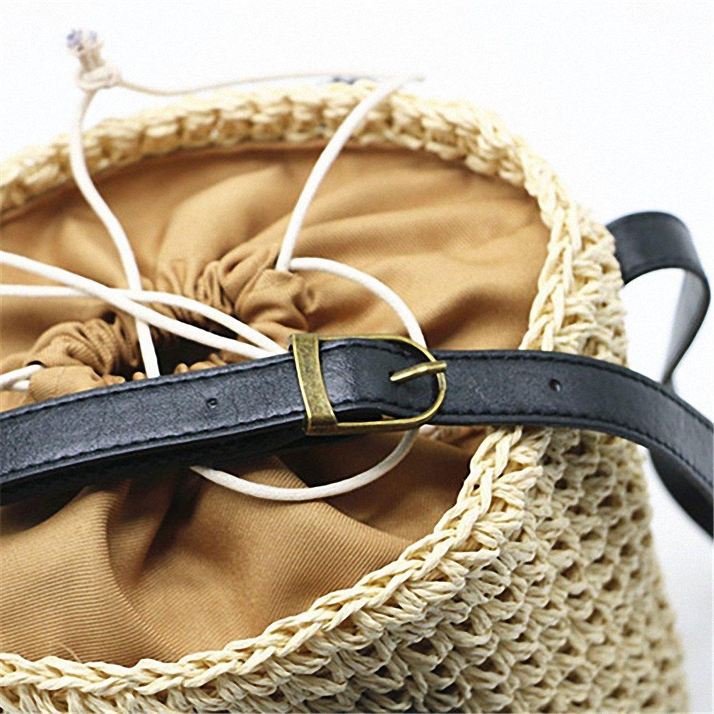 Y/&MY Summer Style Cylinders Handbags Bohemian Boho Indian Hair Straw Bag Thai Woven Beach Bag Red