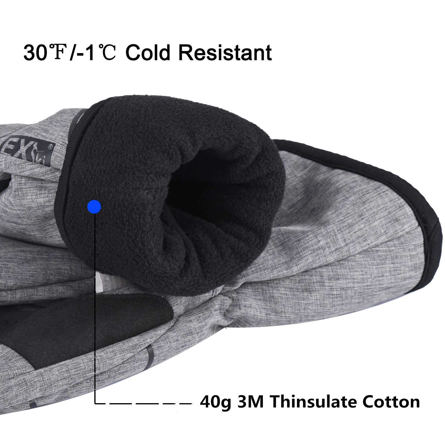 EXski Winter Waterproof Touchscreen Thinsulate Fleece Lined Driving Cycling Skiing Warm Gloves Cold Weather Mens Womens
