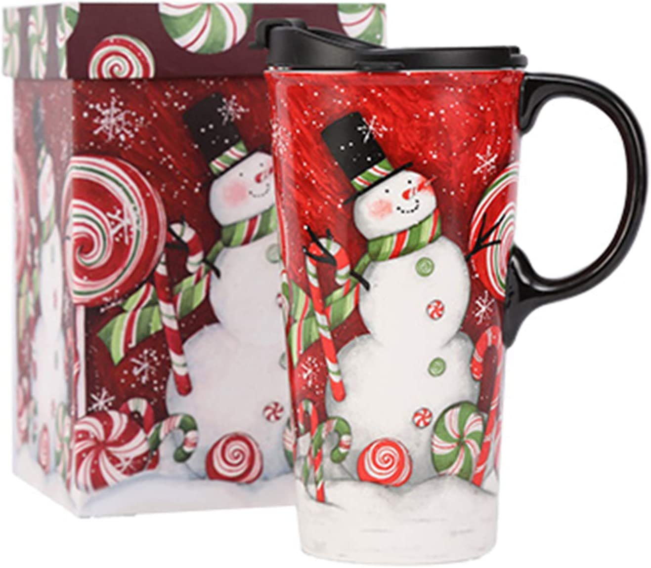 Topadorn Coffee Ceramic Mug Porcelain Latte Tea Cup With Lid in Gift Box 17oz., Santa Snowman