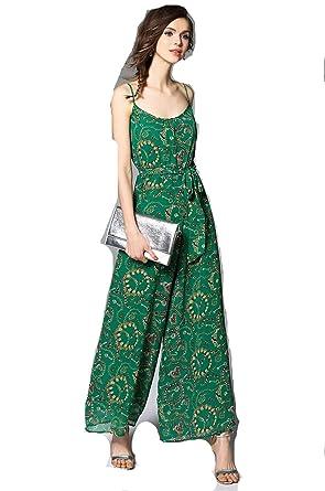 5c57a04560c4 Women s Chiffon Spaghetti BOHO Jumpsuits Playsuits Romper Tie Waist Green  Vacation ...