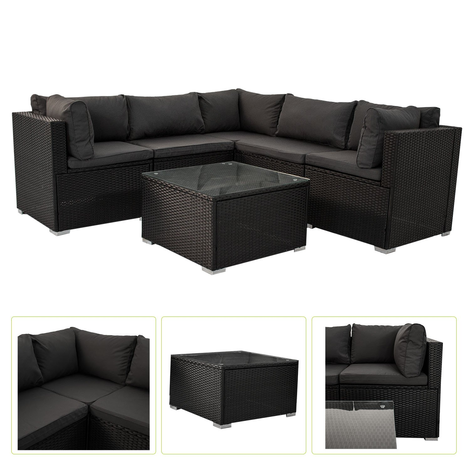 polyrattan gartenm bel lounge sitzgruppe nassau mit bez gen in dunkelgrau online kaufen. Black Bedroom Furniture Sets. Home Design Ideas