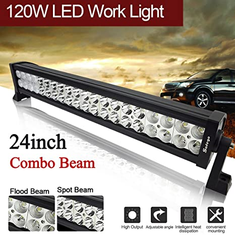 Amazon safego 215 24inch 120w led light bar flood spot combo safego 215quot 24inch 120w led light bar flood spot combo beam offroad work light for aloadofball Image collections