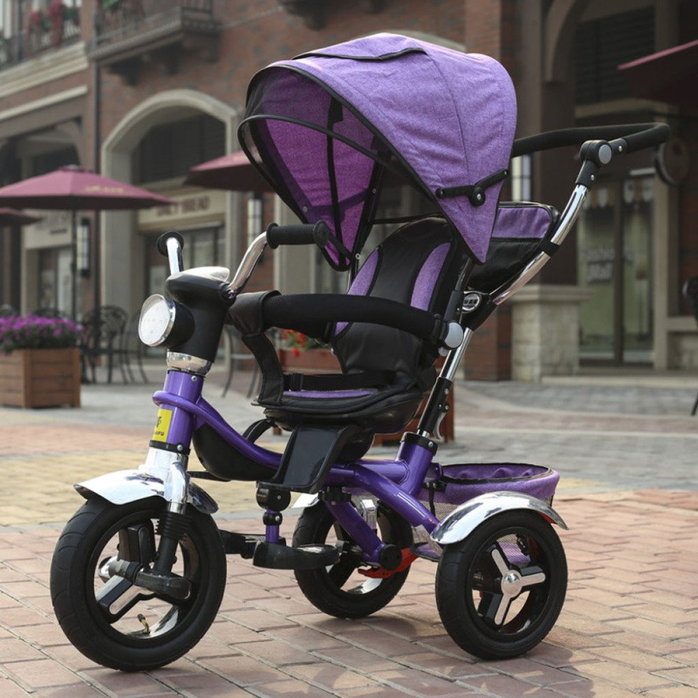QXMEI Children's Tricycle Bicycle Baby Stroller 1 to 4 Years Old Stroller with Awning,D