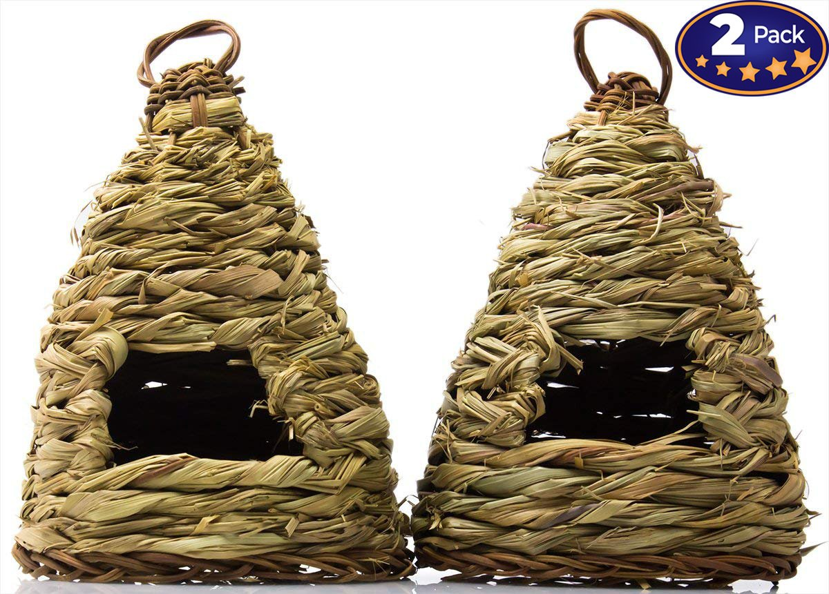 Woven Birdhouse 2 Pack: 10 Hive-Style. Ideal for Small Birds & Hummingbirds to Rest In. Bird Houses Are Made of Natural Fiber to Blend Into Your Garden. For Outside or Inside Decorative Use.