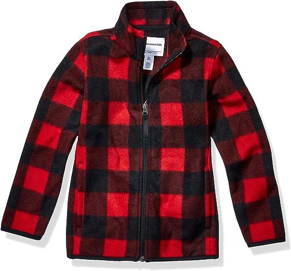 Essentials Big Boys Full-Zip Polar Fleece Jacket Outerwear XX-Large Strong red
