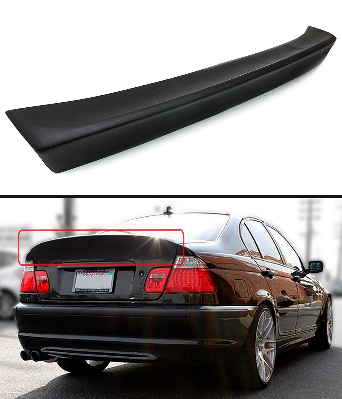 Cuztom Tuning Csl Style Rear Trunk Duckbill High Kick Spoiler Wing Fits For 1999 2005 Bmw E46 3 Series 4dr Sedan