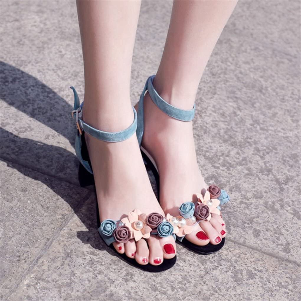 Genepeg Womens Sandals Summer Blue High Chunky Heels Shoes Buckle Ankle Strap Sandals