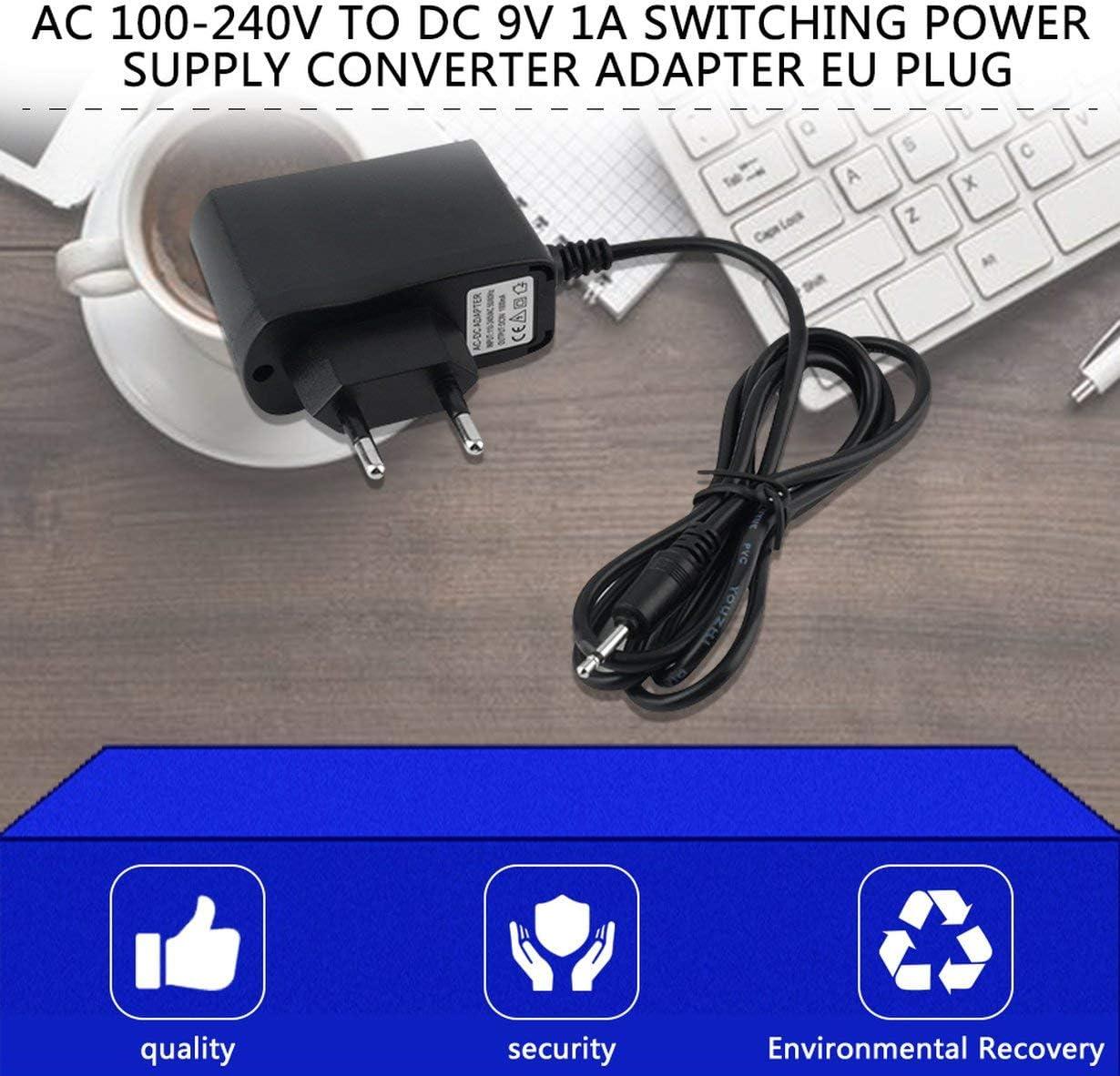 Universal AC 100-240V /À DC 9V 1A Commutation Adaptateur Alimentation Convertisseur Haute Prise UE pour Bandes LED pour T/él/éphone Mobile Accessoire Noir