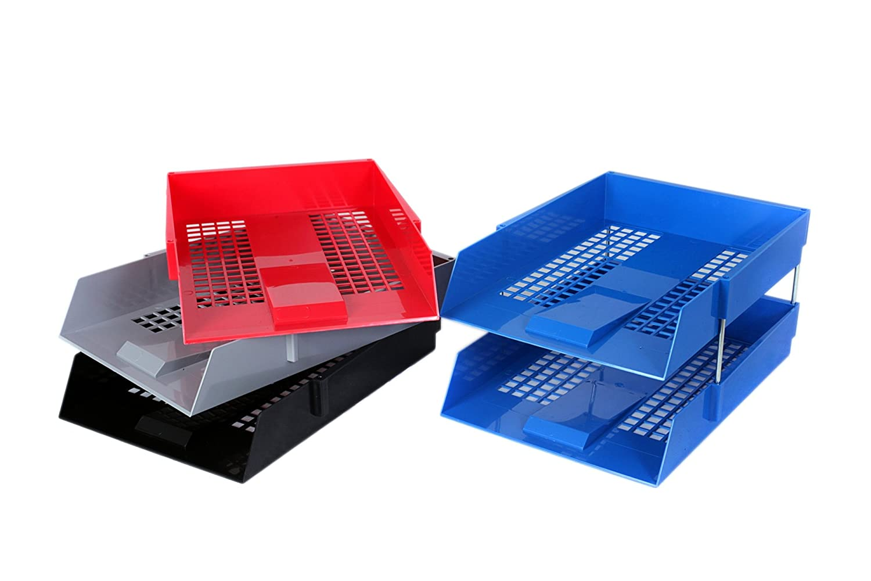 OfficeForce 3/vassoi portacorrispondenza formato A4/nero con 2/set di aste in metallo e gratuita OfficeForceJotter Pad