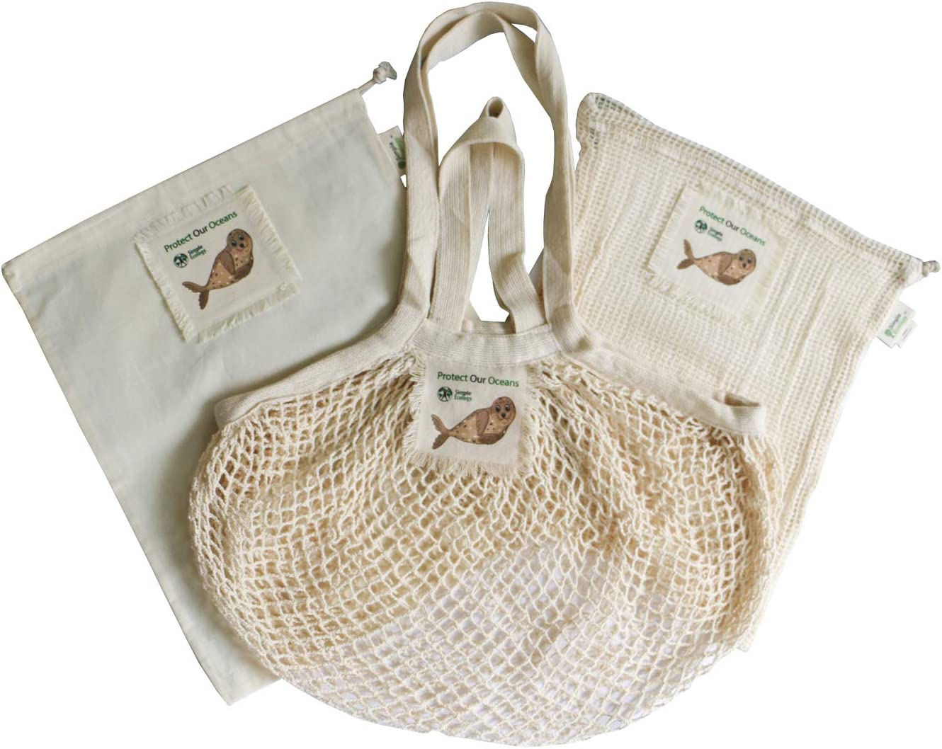 """Protect Our Oceans"" Simple Ecology Organic Cotton Reusable Seal Gift & Starter Set (string produce saver bags, food storage, bulk bin, with tare weight tag and drawstring, waste free)"
